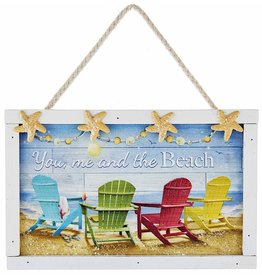 Kurt Adler Wood Coastal Plaque Ornament You Me And The Beach