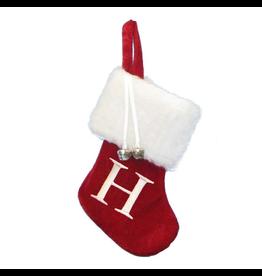 Kurt Adler Mini Red Monogrammed Christmas Stocking w Initial Letter H