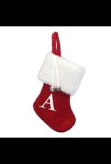 Kurt Adler Mini Red Monogrammed Christmas Stocking w Initial Letter A