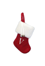 Kurt Adler Mini Red Monogrammed Christmas Stocking w Initial Letter V