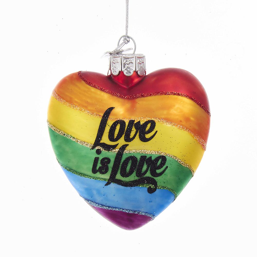 Kurt Adler Gay Pride Rainbow Glass Heart W Love is Love Ornament 4 inch