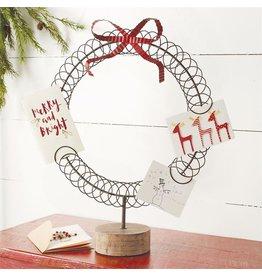 Mud Pie Christmas Wreath Card Holder Display On Wood Block Base