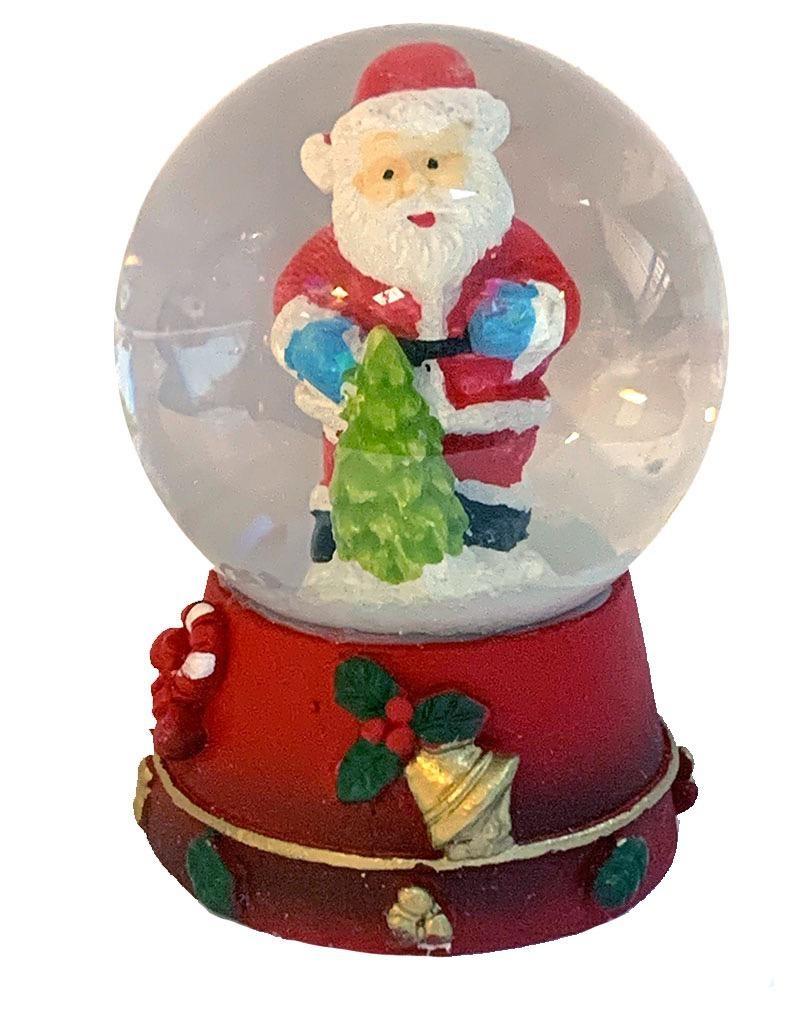 Kurt Adler Mini Christmas Snow Globe Santa With Christmas Tree