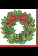 Caspari Paper Dinner Napkins Christmas Holly Wreath 20pk