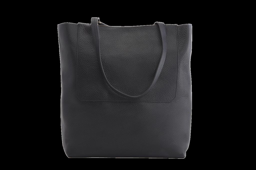 KIKO Leather Double Zip Tote In Black