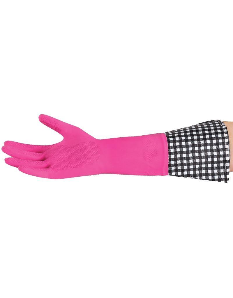 Krumbs Kitchen Designer Rubber Gloves Pink With Gingham Cuff