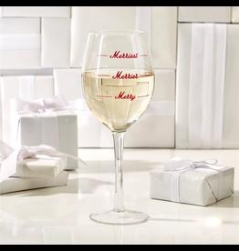 Twos Company Merriest Wine Glass w Merriest Merrier Merry 14oz