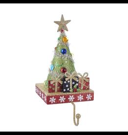 Kurt Adler Christmas Tree Stocking Holder Tree w Gifts and Gold Hanger