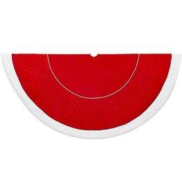 Kurt Adler Christmas Tree Skirt Red Quilted Velvet w Fur Trim 72 inch
