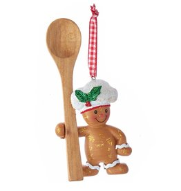 Kurt Adler Gingerbread Chef Boy Utensil Ornament W Wooden Spoon