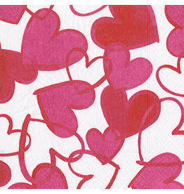 Caspari Valentines Paper Cocktail Napkins 20pk Painted Hearts