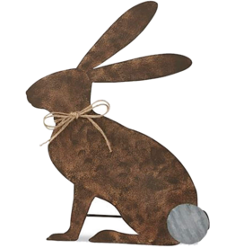 Mud Pie Tin Easter Bunny Decor Sitting Bunny With Easel 19x14