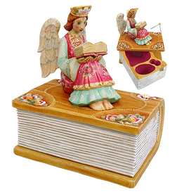 DeBrekht Artistic Studios Sweet Dreams Angel Box W Angel Reading 6.5 Inch