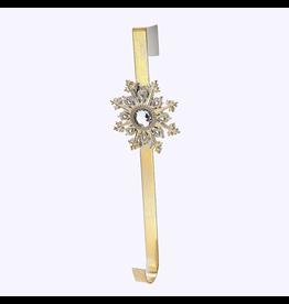 Kurt Adler Gold Tin Metal Christmas Wreath Hanger W Snowflake J8964 Kurt Adler