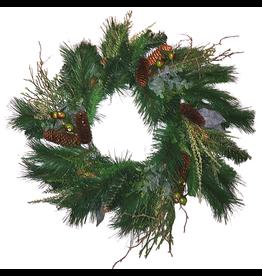Darice Christmas Wreath 24 inch Mixed Greens w Pine Cones