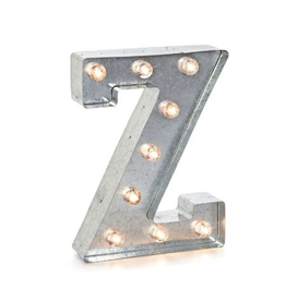Darice LED Light Up Marquee Letter Z 5915-724 Galvanized Silver Metal