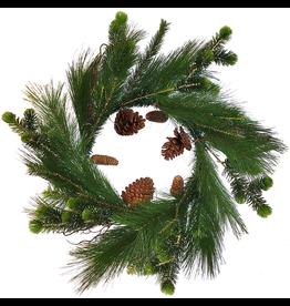 Darice Christmas Wreath 24 inch Mixed Greens Pine w Pine Cones