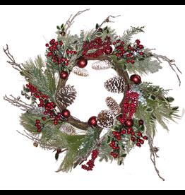 Darice Christmas Wreath Mixed Pine W Cones Red Berries 26 inch