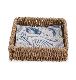 Mud Pie Seashell Napkin Basket Set w 12 Shell Printed Paper Napkins
