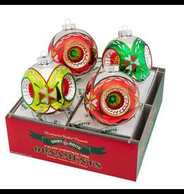 Christopher Radko Shiny Brite Holiday Splendor Ornaments Rounds W Triple Reflectors 4 Inch