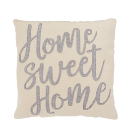 Mud Pie Canvas and Felt Pillow 18x18 Home Sweet Home