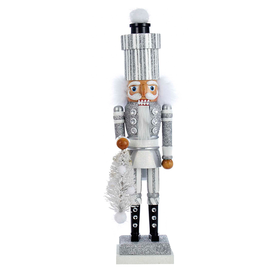 Kurt Adler Hollywood Soldier Nutcracker w Gift Package Hat Silver -B
