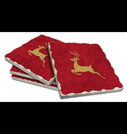 Cala Home Abosorbent Stone Coasters 4pk 88568 Reindeer on Red