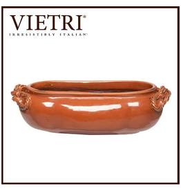 Vietri Rustic Spice Garden Planter 19x10x6 Oval Cachepot Paprika