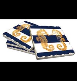 Cala Home Abosorbent Stone Coasters 4pk 88601 Nautical Seahorses