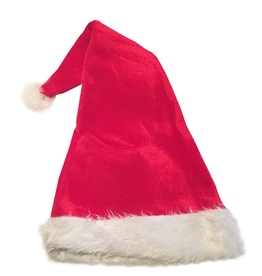 Darice Christmas Hat Velvet Holiday Hat - Red w White Faux Fur Trim