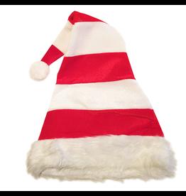 Darice Christmas Hat Velvet Holiday Hat - Red White Stripe w White Faux Fur Trim