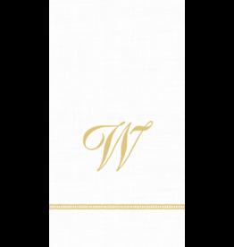 Caspari Monogram Initial W Paper Guest Napkins 15pk
