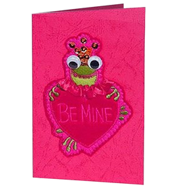 Katherine's Collection Valentines Card Frog Holding Heart with Be Mine