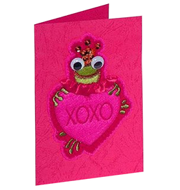 Katherine's Collection Valentines Card Frog Holding Heart with XOXO