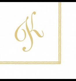 Caspari Monogram Initial K Paper Cocktail Napkins 20pk