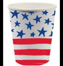 Slant 8oz Paper Cups 8ct w Stars and Stripes Patriotic Flag Design