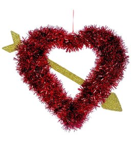 Darice Red Tinsel Heart W Gold Cupid Arrow Wreath 21x16 Valentines Day