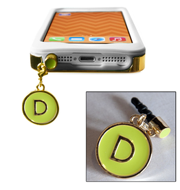 TECH Candy Phone Charms Earphone Jack Jewelry Initial D Gold Green