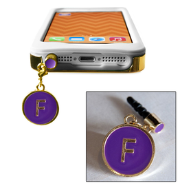 TECH Candy Phone Charms Earphone Jack Jewelry Initial F Gold Purple