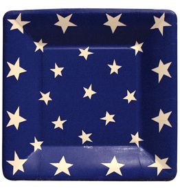 Caspari Square Paper Salad Dessert Plates 8pk Stars And Stripes