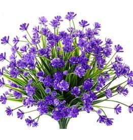 Digs Mini Artificial Flowers Bundle UV Resistant Purple 9.5x13
