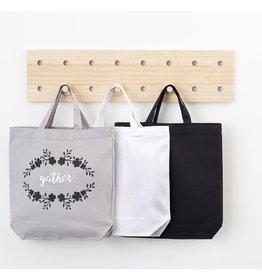 Darice Cotton Canvas Tote 3 Pack 13.5x13.5 Inch Black White Gray