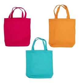 Darice Cotton Canvas Tote 3 Pack 13.5x13.5 Inch Pink Teal Orange