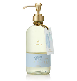 Thymes Washed Linen Large Hand Wash 15 Oz Glass Bottle
