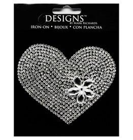Darice Bling Rhinestone Heart Iron On Applique 3.5 Inch