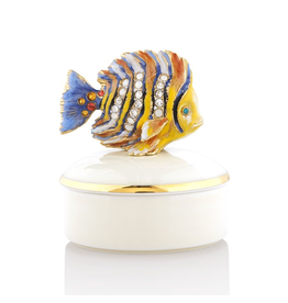 Jay Strongwater Decorative Boxes Finley Fish Round Porcelain Box