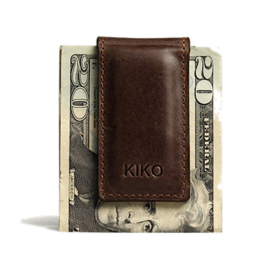 KIKO Leather Magnetic Money Clip Brown Leather