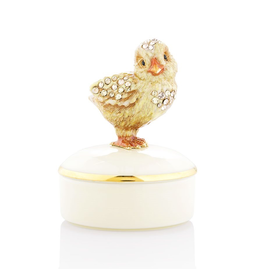 Jay Strongwater Decorative Boxes Sawyer Chick Round Porcelain Box