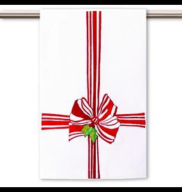 Peking Handicraft Christmas Hand-Guest Towel Red Ribbon Bow 16x25