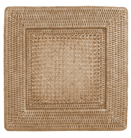 Caspari Rattan Chargers 12 Inch Square Plate Charger White Washed